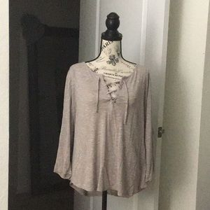 Tan 3/4 Sleeve Shirt 👚